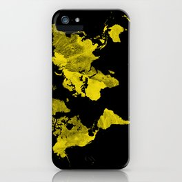 Yellow and black world map iPhone Case