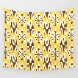 Retro Mid Century Modern Atomic Triangles 728 Brown and Yellow Wall Tapestry