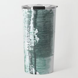 Gray green stained watercolor texture Travel Mug