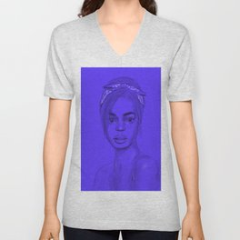 Joan in purple Unisex V-Neck