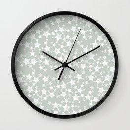 Block Printed Gray Green and White Stars Wall Clock