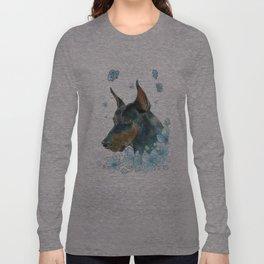 Blue Doberman Long Sleeve T-shirt