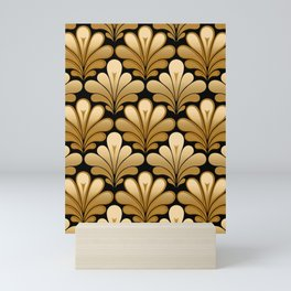 Art Deco Shell Pattern, Gold and Black Mini Art Print