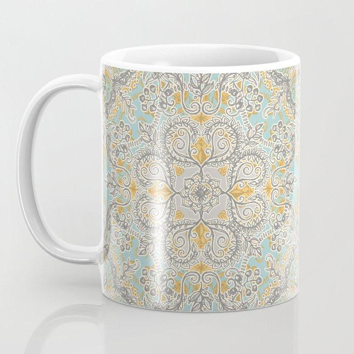 Gypsy Floral in Soft Neutrals, Grey & Yellow on Sage Coffee Mug