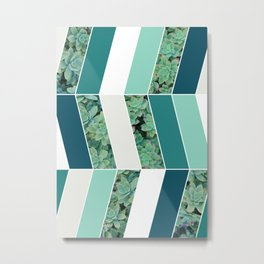 Teal Herringbone #society6 #teal #succulent Metal Print
