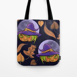 Autumn Pumpkin Witch and Moon Tote Bag