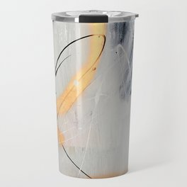 Midnight Time Lapse: a minimal, abstract mixed-media piece by Alyssa Hamilton Art in Gold, Black Travel Mug