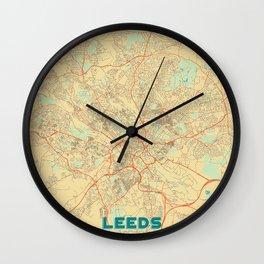 Leeds Map Retro Wall Clock