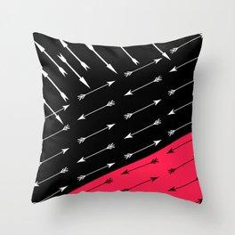 Red black , white pattern Arrow . Throw Pillow