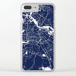 Amsterdam Navy Blue on White Street Map Clear iPhone Case