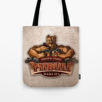 pitbull Tote Bags featuring PITBULL RIDERS by gtrullas