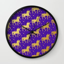 Purple and Gold Unicorn and Stars Pattern Wall Clock