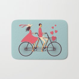Love Couple riding on the bike Bath Mat