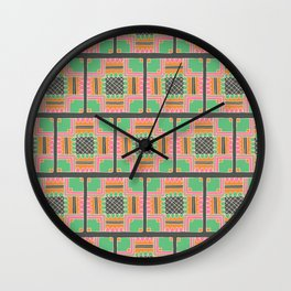 Pink and Green Detailed Doodle Tiles Illustrated Pattern Wall Clock