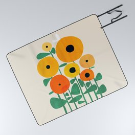 Sunflower and Bee Picnic Blanket