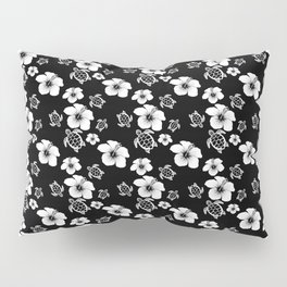 Black And White Floral And Turtle Hawaiian Pattern Pillow Sham
