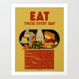 Vintage poster - Eat These Every Day Art Print