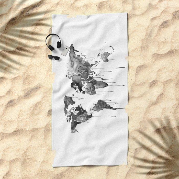 World map 2, black and white Beach Towel