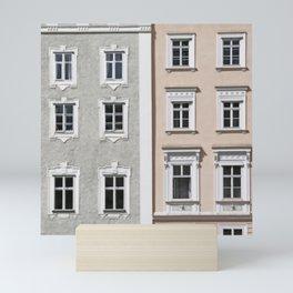 Gray and Beige European Buildings Mini Art Print