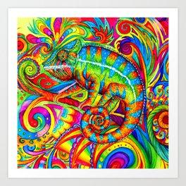 Psychedelizard Colorful Psychedelic Chameleon Rainbow Lizard Art Print