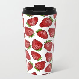 Strawberries pattern design Metal Travel Mug