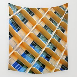 Scratchy Hotel Facade Wall Tapestry