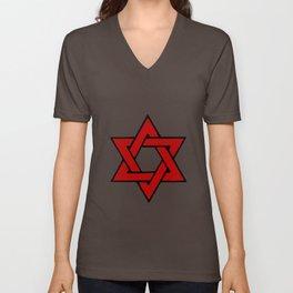 Red Star of David Unisex V-Neck