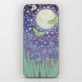 Moonlit stars, luna moths, snails, & irises iPhone Skin