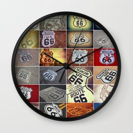 Historic U.S. old Route 66 signs. Wall Clock