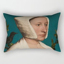 PORTRAIT OF A LADY WITH A SQUIRREL AND A STARLING - HANS HOLBEIN Rectangular Pillow
