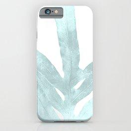 Ice Blue Fern in Summer White iPhone Case