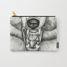 Pencil Drawing - Wolf Growl Carry-All Pouch