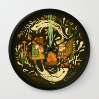 forest Wall Clocks featuring Animal Chants & Forest Whispers by Teagan White