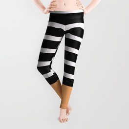 Black & White Stripes with Tangerine Patch Leggings