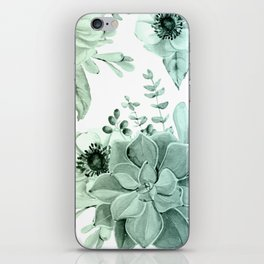 Simply Succulent Garden in Turquoise Green Blue Gradient iPhone Skin