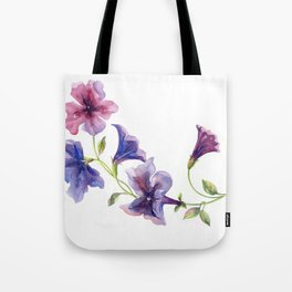 Watercolor branch of petunia. Tote Bag