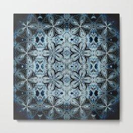Blue & Black Etched Delicate Flowers Metal Print