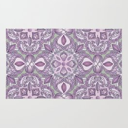 Lavender & Grey - Colored Crayon Floral Pattern Rug