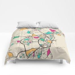 Colorful City Maps: Aarhus, Denmark Comforters