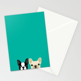 Boston Terrier & French Bulldog 2 Stationery Cards