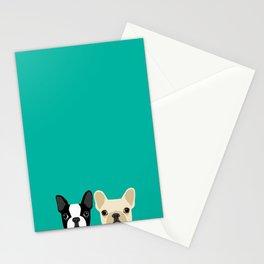 Boston Terrier & French Bulldog 2 Stationery Cards