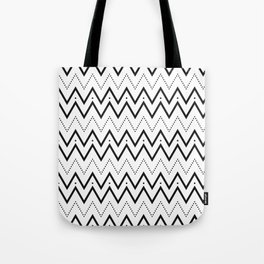 Black lines and dots pattern Tote Bag