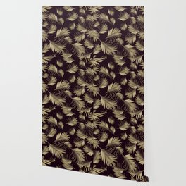 Palm Leaves Pattern - Gold Cali Vibes #4 #tropical #decor #art #society6 Wallpaper