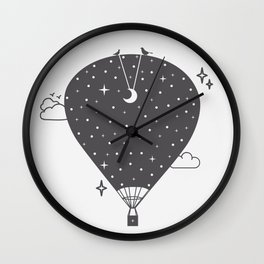 Hot air balloon at night Wall Clock