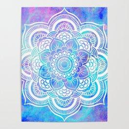 Mandala Pink Lavender Aqua Galaxy Space Poster