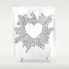 Flourishing Heart Adult Coloring Illustration, Heart and Flowers Wreath Shower Curtain