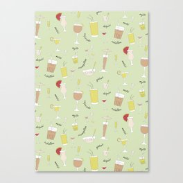 Cocktails pattern Canvas Print