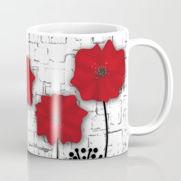 Applique. Poppies on a bright white background . Coffee Mug