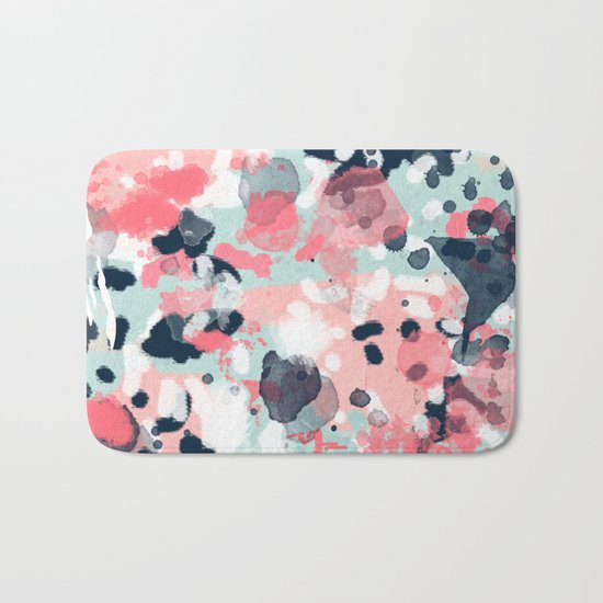 Isla - abstract painting navy mint coral trendy color palette summer bright decor Bath Mat