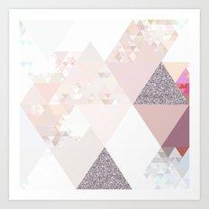 Triangles in glittering Rose quartz - pink glitter triangle pattern Art Print